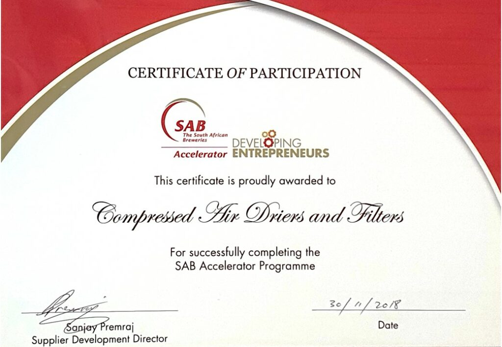 SAB ACCELERATOR CERTIFICATE of PARTICIPATION